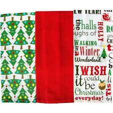 Home Edition 3 Pack Navidad paños de cocina 100% algodón (Rojo árboles de Navidad)