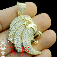 Men's 10k Yellow Gold Tone Real .925 Sterling Silver Lion Head Charm Pendant New