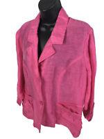 Chicos Sz 2 Pink Linen Nylon Blazer Jacket Womens L Large Lightweight 3/4 Sleeve