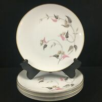 Set of 4 VTG Salad Plates by Noritake China Arden 5603 Pink Floral Japan