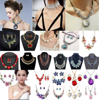 Wedding Rhinestone Crystal Bib Necklace Choker Statement Pendant Jewelry Party