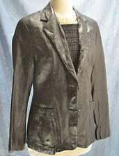 VINTAGE 70s Black Cabretta LEATHER Miss Adler jacket Button Coat Blazer SIZE 12
