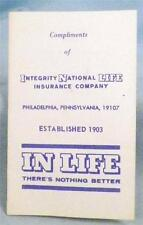 Vintage Needle Case Book Advertises Integrity National Life Insurance Co Paper