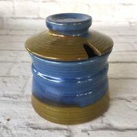 Pacific Stoneware Jelly Pot Jam Jar Avocado Green Cobalt Blue Lid Art 1968