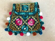 Girls Handbag Handmade Embrodery Fancy Cross Body Bag Green 7X7