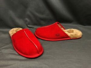 UGG Men's Scuff Slippers Suede Upper Wool Lining Slip-On Samba Red Size 10 NEW!