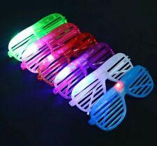 100 Flashing LED Shutter Glasses Light Up Slotted Party Glow Shades Wholesale