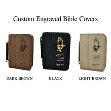 Custom Leather Bible Cover | Praying Hands Style | Confirmation Communion Gifts