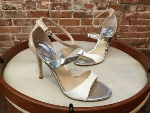 Marc Fisher Natural White & Silver Gentry Ankle Strap Heel Sandal 9 SALE
