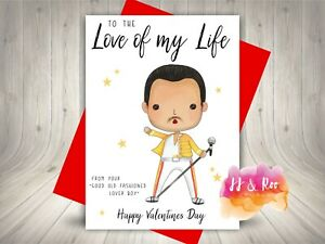 Funny Freddie Mercury Inspired Valentines Card (From Him) Love of My Life, Queen
