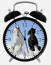 "Black White Horse Alarm Desk Clock 3.75"" Home or Office Decor E355 Nice For Gift"