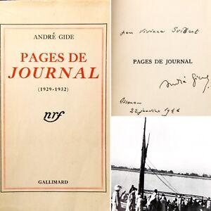 🌓 signé André GIDE Pages de Journal 1929 1932 Gallimard Édition Variétés Canada