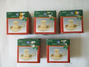 5 Christmas Candle Holders From The Snow White Collection New And Boxed.