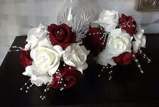 2 x WEDDING FLOWERS BRIDESMAIDS IVORY WHITE /BURGUNDY ROSE CRYSTAL BOUQUETS