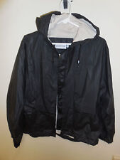 Rare VINTAGE London Fog RUBBER Crop Hooded BACK POCKET Rain Coat Jacket MEDIUM