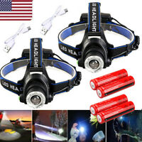 250000Lumen T6 LED Zoomable Headlamp USB Rechargeable 18650 Headlight Head Torch