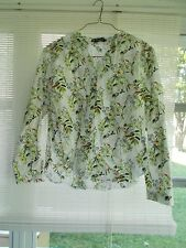 Allegra K Size XL Women's Long Sleeve White Blouse Floral Design Unused No Tags