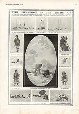 1915 WWI PRINT ~ STEFANSSON ARCTIC ICE ESKIMONWIFE BABY SLEDGE & SAIL BELBEDERE