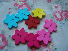 8 Lg. Bright Colour FLOWER Realistic Plastic Buttons