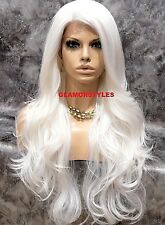 Human Hair Blend Hand Tied Monofilament Lace Front Full Wig Long White Heat Ok