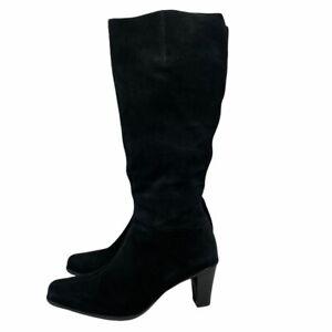 La Canadienne Black Waterproof Suede Knee High Boots Sz 10 Made in Canada