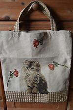 Gobelin Tasche Einkaufstasche Sporttasche Shopper ♥ Katze ♥ Blume beige  NEU