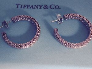 NEW Tiffany & Co. RUBEDO  classic somerset mesh hoop earrings Medium $800