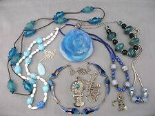A mixed lot of Vintage Blue Jewellery -  6 Necklaces, 2 Pendants & a Brooch