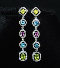 NATURAL 10CTS VS F DIAMOND TOURMALINE PERIDOT TOPAZ 18K GOLD DANGLE EARRINGS