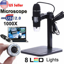 1000X 8 LED 2MP USB Digital Microscope Endoscope Magnifier Camera + Lift Stand
