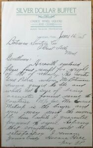 Lewistown, MT 1908 Letterhead: Silver Dollar Buffet, Wine & Cigars- Montana Mont