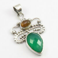 """925 Pure Silver Multicolor Tiger's Eye, Green Onyx Pendant 1.7"""" Wholesale Gift"""