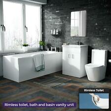 Bath + Rimless Toilet Freestanding Vanity Unit   Bathroom Suite   Desner