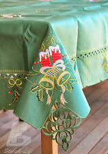 Large Square Green Table Cloth, Embroidered Christmas Candle&Bells 180cm FFD002G