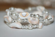 3NEW Gorgeous Genuine Natural Pink Freshwater Pearl &Shell Bracelet $PECIAL $ALE