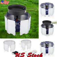 US Camping Stove Windscreen Cooking Windshield Outdoor Windproof Folding Screen