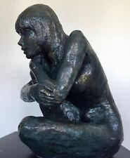 Carole Statue Sculpture Art Nu Design bronze H/24L/19 P/20cm-Terre cuite