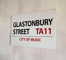 More details for glastonbury street music festival a4 metal plaque shabby chic picture home deco