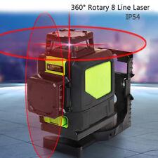 360° Rotatif 8 Line Laser Self Leveling Horizontal Verticale Niveau Niveau Rouge