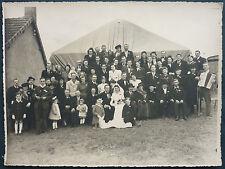 PHOTO ANCIENNE MARIAGE AVEC MUSICIENS / JAMBE DE BOIS - ELDE LA MACHINE 58  RARE