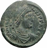 MAGNUS MAXIMUS Authentic Ancient 383AD Arles Genuine Roman Coin w WOMAN i74898