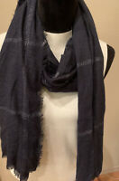Mixit oblong scarf- wear multiple ways, Peasant Blue/Silver -  NWT