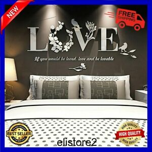 Removable 3D Mirror Leaf LOVE Wall Sticker Art Acrylic Decals Bedroom Home Decor