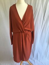 NEW Asos Size 12 Wrap Dress Long Sleeve Rust Orange Plain Plunge V-neck