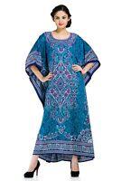 Blue Paisley Dress Kaftan Women Size Maxi Cover Plus Womens Long dress