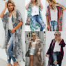 Women's Vintage Loose Blouse Summer Boho Chiffon Shawl Kimono Long Cardigan Tops