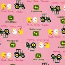 John Deere Nursery Duck Duck Tractor Pink Cotton Fabric Fat Quarter