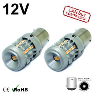 2x BAU15S PY21W 581 AMBER LED CANBUS TURN SIGNAL INDICATOR LIGHT BULBS ORANGE 12