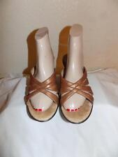 Soff Metallic Bronze  Leather Slide Wedge Sandals Shoe Size 9 M