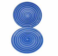 """Tabletops Unlimited Blue SWIRL Hand Painted Collection Plates Salad 8 1/4"""" Lot 2"""
